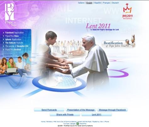 Página principal do site Pope2You