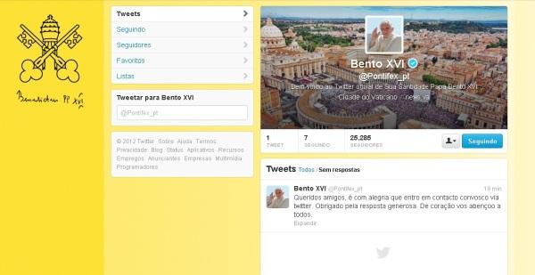 1ª twitter do papa