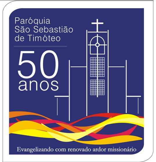 Selo comemorativo do jubileu de ouro da paróquia São Sebastião.