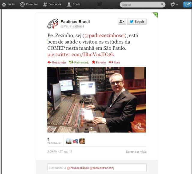 Do Twitter da Paulus que registou a visita do Padre Zezinho aos seus estúdios.