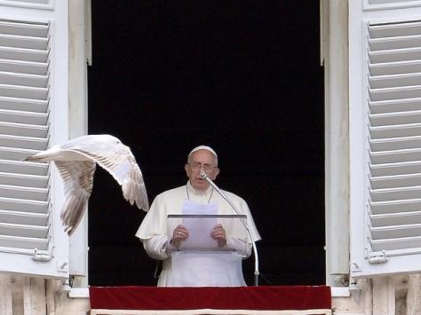 Papa Francisco hoje pela manhã na Praça São Pedro/Foto AFP