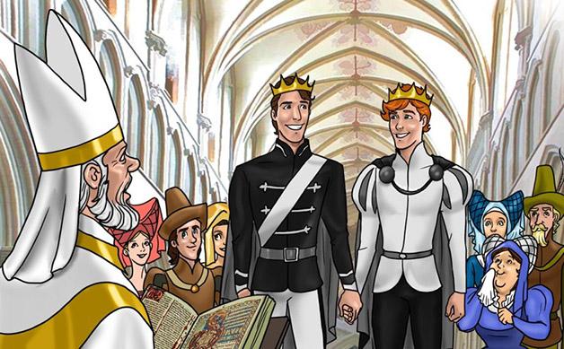 Conto de fadas gay tem casamento em igreja