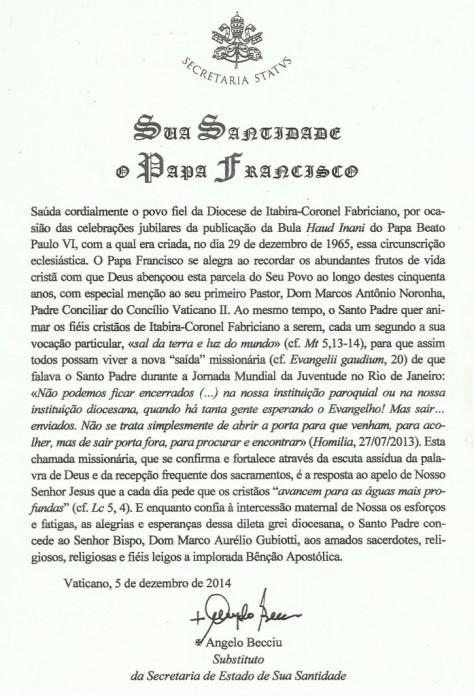 Carta do Papa à Diocese de Itabira/Cel. Fabriciano